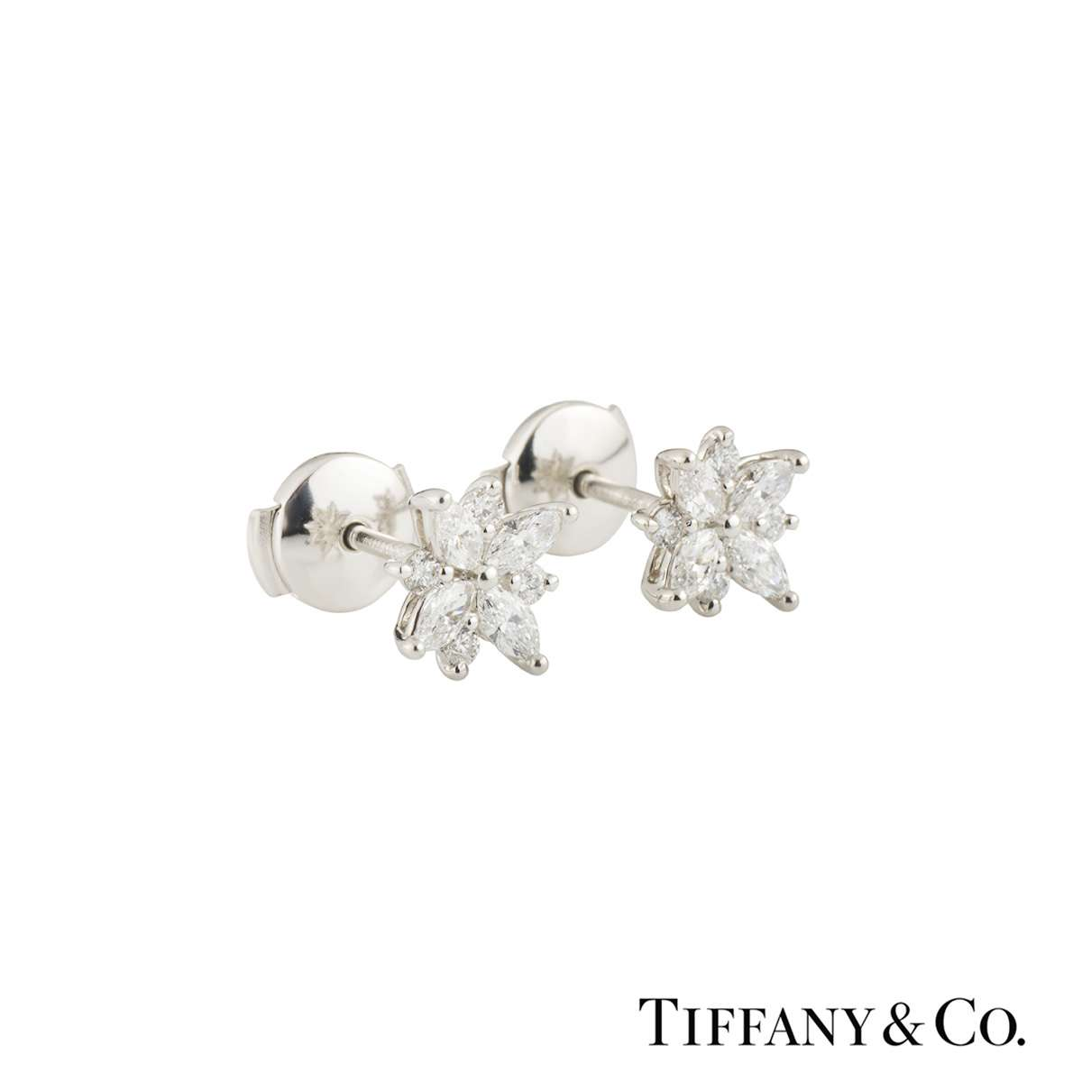 Tiffany & Co. Platinum Victoria Cluster Earrings